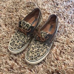 Sperry - leopard print boat shoes size 11